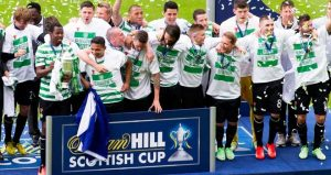 Celtic lifting the Scottish Cup