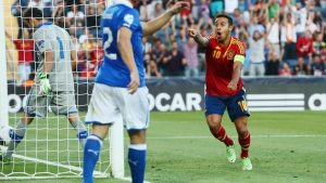 Captain's responsibility: Barcelona midfielder Thiago hit a hat trick for his side.